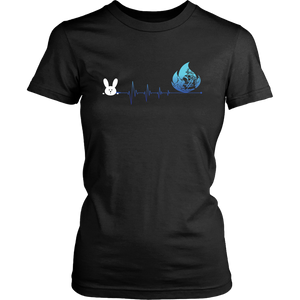 Bunny Easter Firefighter Heartbeat Womens And Unisex T-Shirt