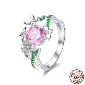 Unique HQ Butterfly & Flower Ring - 925 Sterling Silver