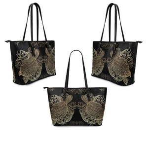 Golden Sea Turtle Large PU Leather Tote - Freedom Look