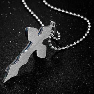 Blue Cross Pendant Necklace - Freedom Look