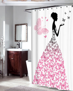 Romantic Butterfly Waterproof Bathroom Shower Curtain with Hooks - Freedom Look