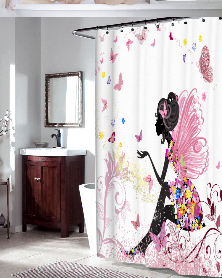 Romantic Butterfly Waterproof Bathroom Shower Curtain With Hooks