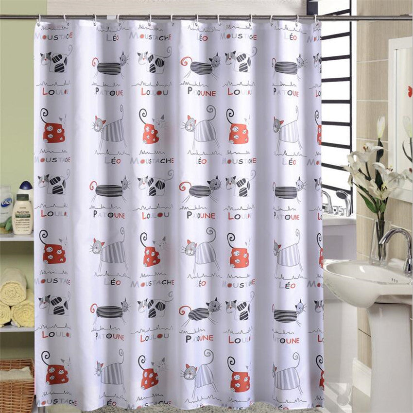 Funny Cat Waterproof Shower Curtain