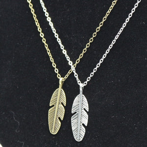 Vintage Leaf Feather Pendant Necklace - Freedom Look