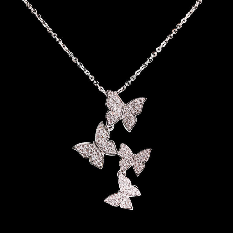 Beautiful 925 Sterling Silver Butterfly Necklace   Freedom Look