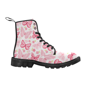 Pink Butterfly Canvas Women's Boots - Freedom Look