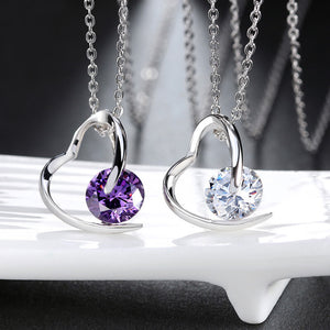 Purple Heart Pendant Necklace - 925 Sterling Silver - Freedom Look