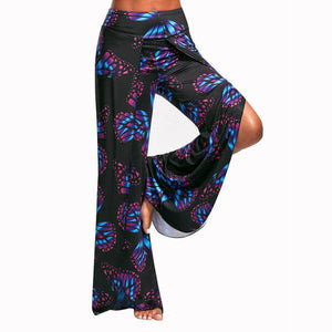 Unique! Butterfly Print High Split Pants - Freedom Look