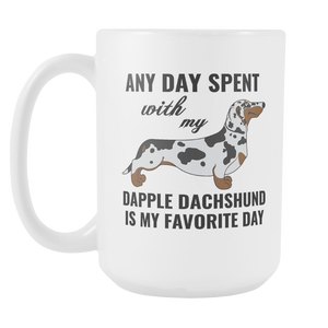 Dapple Dachshund Gifts Mug - Dapple Dachshund Ornament - Wiener Dog Dad Mom Mug - Great Gift For Daschund Owner (15 oz) - Freedom Look