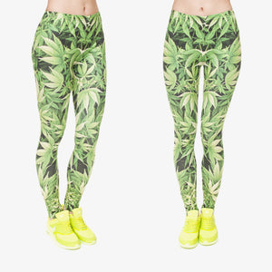 3D Weed Design Leggings - Freedom Look