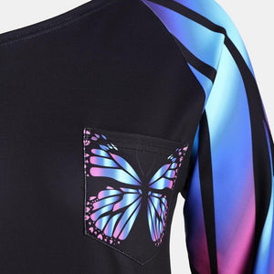 Women's Large Size Top Butterfly - Long Sleeve Blouse