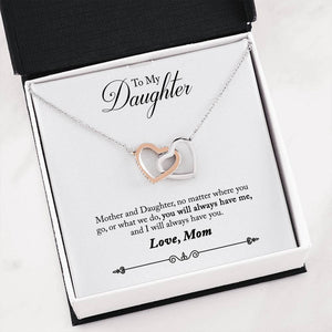 To My Daughter From Mom Birthday Gift, There For You Pendant Necklace (2 Hearts)