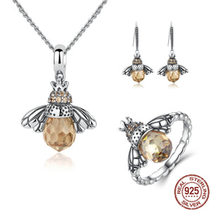 Unique Bee Pendant Necklace, Earrings & Ring - Sterling Silver - Freedom Look