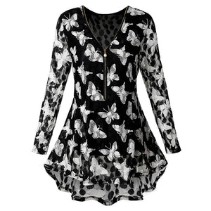 Black Butterfly Blouse XL - 5XL - Freedom Look