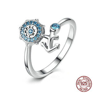 Blue Crystal Anchor & Rudder Ring - 925 Sterling Silver - Freedom Look