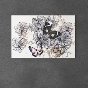 Butterflies and Flowers Canvas Art - Freedom Look