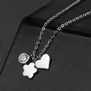 Butterfly & Flower Heart Lovely Necklace - 925 Sterling Silver - Freedom Look