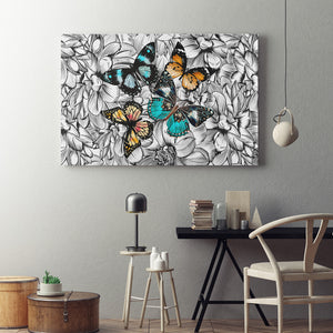 Butterflies With Flowers Canvas Art - Freedom Look