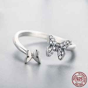 Butterfly Open Finger Ring - 925 Sterling Silver - Freedom Look