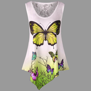 Summer O-Neck Butterfly Casual Top