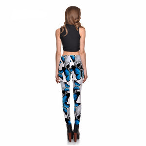 Blue Butterfly & Skull Leggings for 2018 - Freedom Look