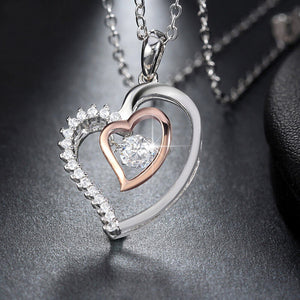 Double Heart Pendant Necklace - 925 Sterling Silver - Freedom Look
