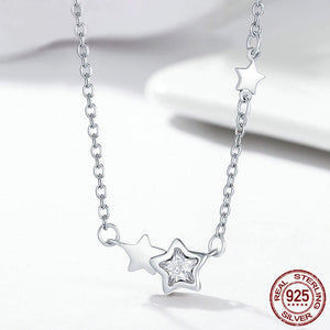 Double Sparkling Pendant Necklace - 925 Sterling Silver - Freedom Look