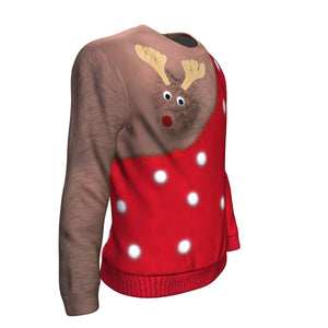 Funny Rudolph Ugly Christmas Sweater (Dark Skin) - Freedom Look
