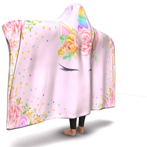 Unicorn Head Pink Hooded Blanket