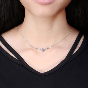 Elegant Crystal Women Necklace with Angel Wing and Heart - Freedom Look