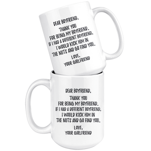 Thank You For Being My Boyfriend Coffee Mug (15 oz)
