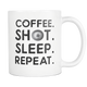 Photographer Coffee Shot Sleep Repeat Mug - Photographer Average Day Activity - Photography Related Gifts - Unique Gift For Him Or Her (11 oz)
