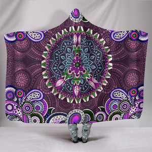 Purple Peace Mandala - Cozy Warm Hooded Blanket