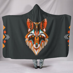 Wolf Cozy Warm Hooded Sherpa And Microfiber Blanket With Hood