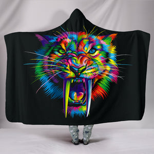 Tiger Colorful - Cozy Warm Hooded Sherpa And Microfiber Blanket With Hood