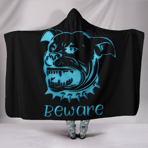 Beware Of Pitbull Hooded Sherpa And Microfiber Blanket With Hood
