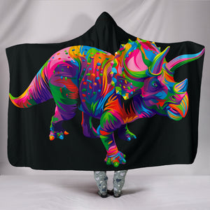 Triceratops Cozy Warm Hooded Sherpa And Microfiber Blanket With Hood