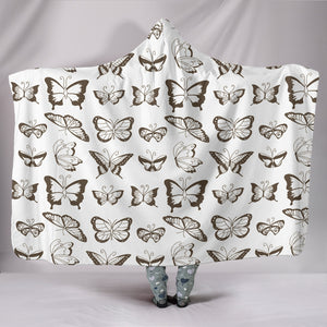 Butterfly Cozy Warm Hooded Sherpa And Microfiber Blanket With Hood