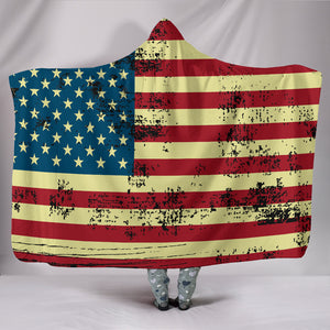 American USA Flag Cozy Warm Hooded Sherpa And Microfiber Blanket With Hood