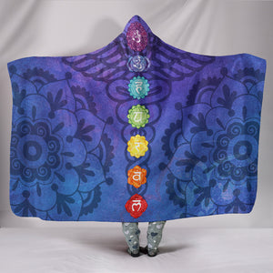 Chakra Activating Kundalini Cozy Warm Hooded Sherpa And Microfiber Blanket With Hood