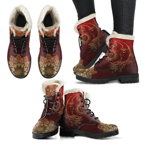 Red Sun And Moon Faux Fur Lined Women's Vegan-Friendly Leather Men's Boots