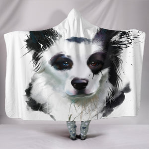 Border Collie Dog - Cozy Warm Hooded Sherpa And Microfiber Blanket With Hood