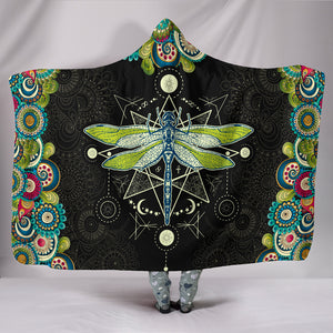 Dragonfly Cozy Warm Hooded Sherpa And Microfiber Blanket With Hood
