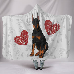 Love Doberman Cozy Warm Hooded Sherpa And Microfiber Blanket With Hood