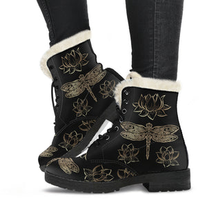 Dragonflies & Lotus Flowers Faux Fur Leather Boots - Freedom Look