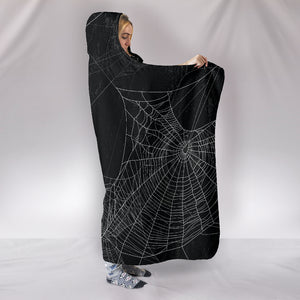 Spiderweb Cozy Warm Hooded Sherpa And Microfiber Blanket With Hood
