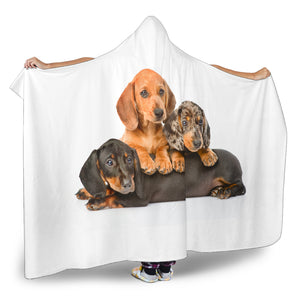 Dachshund Dog Warm Cozy Hooded Sherpa And Microfiber Blanket With Hood
