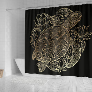 One Golden Turtle Shower Curtain
