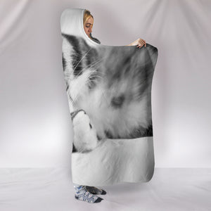 Simply Cat Lovers Plush Lined Wearable Sherpa Hooded Blanket