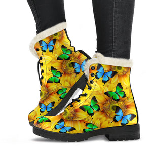 Sunflowers & Butterflies Faux Fur Leather Boots